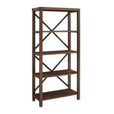 Industrial Bookshelf Four Fixed Shelves With Metal X Back Accent Dark Walnut