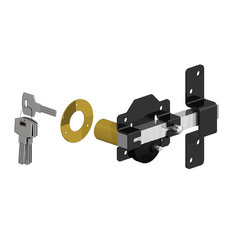 "Single Cylinder Rim Lock, Black/Stainless, 2 3/4"", Single Cylinder"