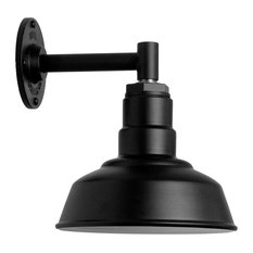 "Wall Sconce Barn Light, The Hawthorne, Matte Black, 6"" Straight Arm"