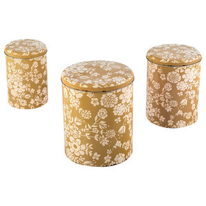Gold Floral Storage Tins, Set of 3