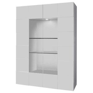 Diana 2-Door Display Cabinet, LED Lights, White Gloss