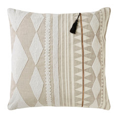 "Nikki Chu by Jaipur Living Lonyn Beige/White Geometric Down Throw Pillow 22"""