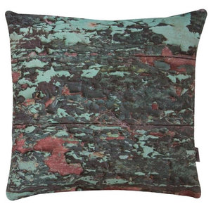 A.U. Maison Green and Red Luxury Wood Cushion Cover