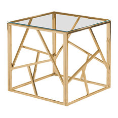 Best Master Morganna Stainless Steel Living Room End Table in Gold