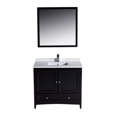 "36"" Single Sink Bathroom Vanity, Espresso, No Faucet"