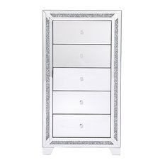 Marina Clear Crystal Mirrored 5-Drawer Cabinet