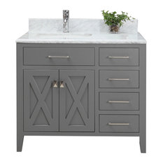 "Bay - Dover Vanity With Marble Top, Gray, 36"" - Bathroom Vanities and"