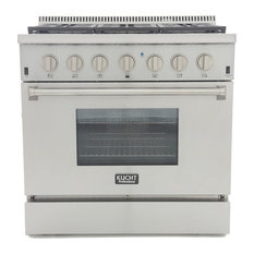 """KUCHT Pro Style 36"""" Dual-Fuel Range, Classic Silver, Natural Gas"""