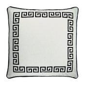 """Greek Key White/Black Embroidered Throw Pillow, 20""""x20"""""""