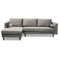 Carolina Sectional Sofa, Gray Velvet, Left Hand Facing