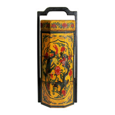Chinese Yellow Lacquer Color Floral Graphic Painting Octagon Stack Box Hws154