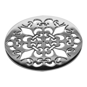 """3.25"""" Round Shower Drain Classic Mon Fleur, Polished Stainless Steel"""