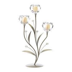 Crystal Flower Triple Candle Holder