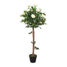 """49.5"""" Decorative Potted Artificial White Floral Rose Garden Tree"""