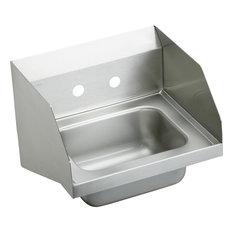 Elkay Stainless Steel Wall Hung Handwash Sink, Buffed Satin, Faucet Holes: 2