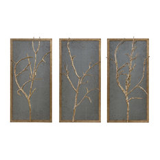 Set of 3 Silvered Metal and Silvered Wood Framed Wall Panels