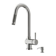 VIGO Gramercy Pull-Down Kitchen Faucet With Soap Dispenser, Stainless Steel