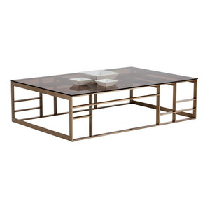 Joan Brushed Antique Brass Stainless Steel With Brown Tempered Glass Top  BRIGHT MODERN