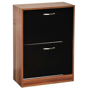 Contemporary Stylish Shoe Cabinet in MDF With 2 Compartments, Walnut/Black