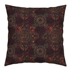 Steampunk Gears Victorian Stripes Dots Throw Pillow Velvet
