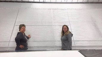 "Our workroom ladies showing vertical seams on perfectly joined 118"" fabric!"