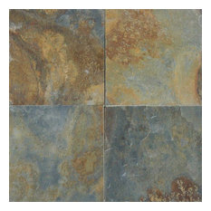 """China Multi Color Forest Slate Tiles, Gauged, 16""""x16"""", 10 Pieces"""