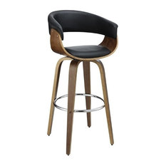 Contemporary Black Upholstered Bar Stool With Walnut