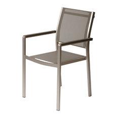 David Dining Chair, Set of 6, Brush Frame, Gray Textilene
