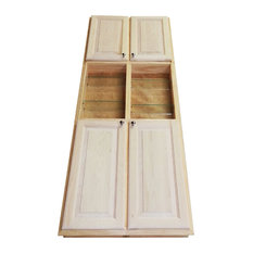 """WG Wood Products - 78"""" Recessed Double Door Baldwin Pantry Storage Cabinet with open shelf 3.5""""d - Pantry Cabinets"""