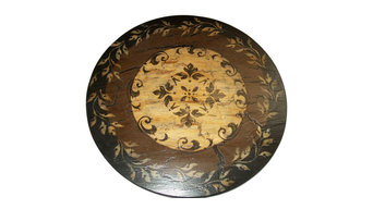 Leaf Pattern Lazy Susan, Black, Brown, and Beige, 24""