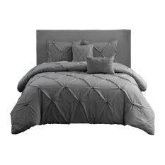 Wonder Home - Wonder Home Hampton 5 -Pieces Pleated Comforter Set, Queen, Gray - Comforters and Comforter Sets