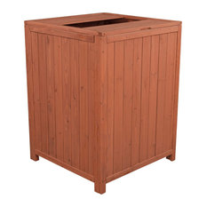 Trash Storage Shed, Rustic Design With Lift Up Top and Open Lid, Brown Finish