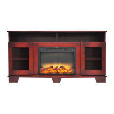 59.1x17.7x31.7 Savona Fireplace Mantel With Logs And Grate Insert - Cherry