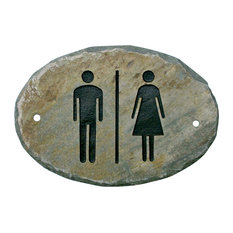 THE SLATE MASONS at T. MICHAEL STUDIOS - Slate Unisex Restroom Door Sign - Game Room Wall Art and Signs