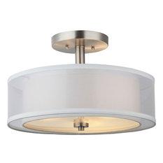 Hardware House   Electrical   3 Light Round Semi Flush Light, Satin Nickel