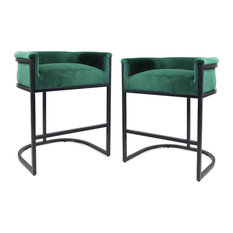 GDFStudio - Best Modern Wide Bucket Upholstered Barstool, Set of 2, Emerald, Black - Bar Stools and Counter Stools