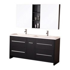 Perfecta Double Sink Vanity Set, Espresso, Espresso, 63""