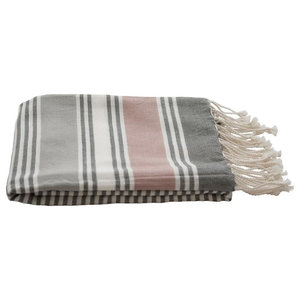 Set of 2 Sally Cotton Hammam Throws, 130x200 cm, Rose and Charcoal
