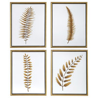 Forest Ferns Contemporary Hand Painted Framed Artwork, 4-Piece Set