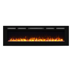 """PuraFlame Alice 68"""" Recessed Electric Fireplace, Wall Mounted 2x6 for Stud"""