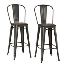 """DHP Luxor 30"""" Metal Bar Stool in Antique Copper (Set of 2)"""