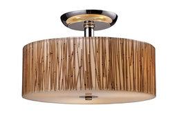 3-Light Semi Flush Polished Chrome/Bamboo Stem
