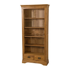 French Chateau Solid Oak Bookcase, Rustic, Large