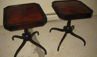 Classic mahogany leather-top tables