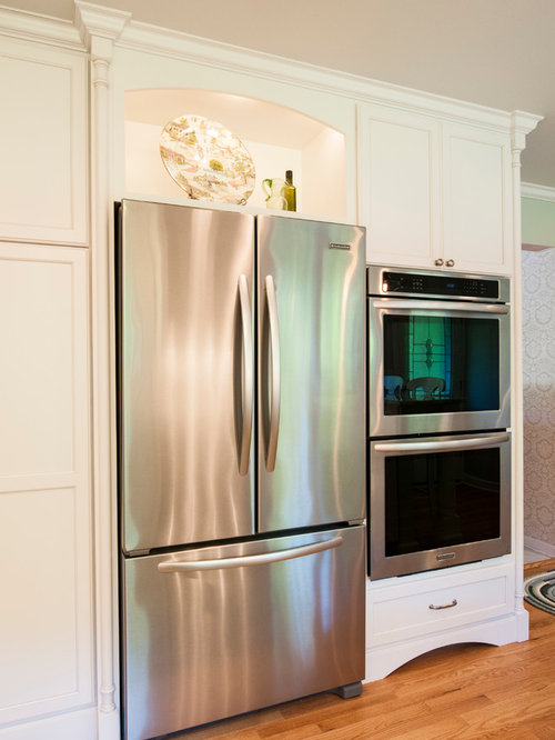 open fridge in kitchen. inspiration for a small transitional home design remodel in milwaukee open fridge kitchen