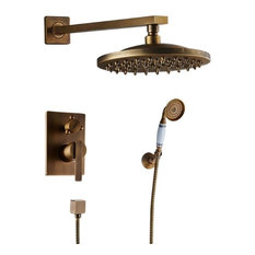 "Ancient Round Antique Brass 8"" Rainfall Wall Shower Head with Hand-Held Shower"