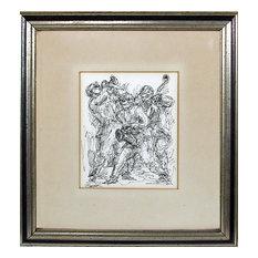 Charles Burdick, Jazz Band III, Ink Drawing