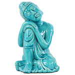 Urban Trends Collection - Ceramic Sitting Buddha Figurine, Blue, Large - UTC22145 Ceramic Sitting Buddha with Rounded Ushnisha and Resting Head on Knee Figurine Large Gloss Finish Blue.