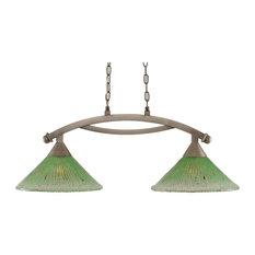 "Bow 2 Light Island Light In Brushed Nickel, 12"" Kiwi Green Crystal Glass"