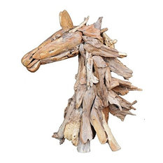 Teak Wood Horse Head Sculpture 17x43x37""